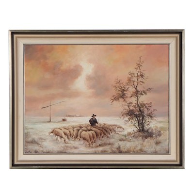 Pastoral Landscape Oil Painting of a Sheep Herder, Circa 2000