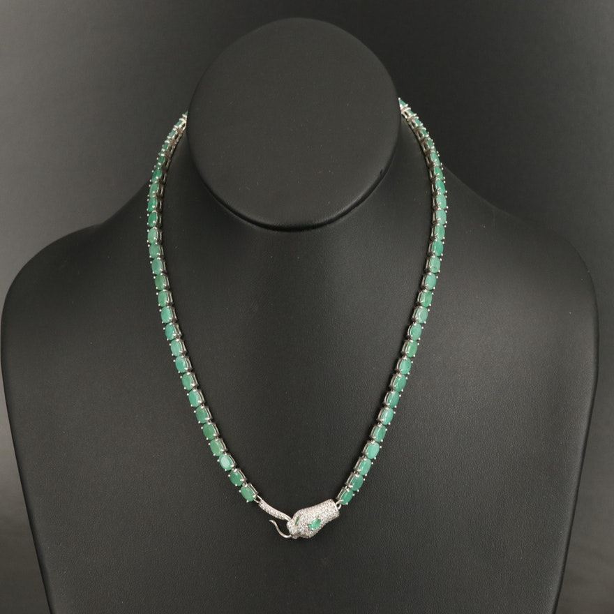 Sterling Ouroboros Necklace with Emerald and Cubic Zirconia