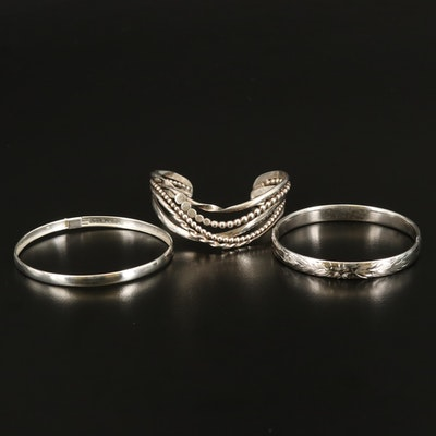 Sterling Bangles and Multi-Row Wave Cuff