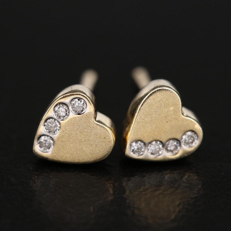 14K 0.05 CTW Diamond Heart Stud Earrings