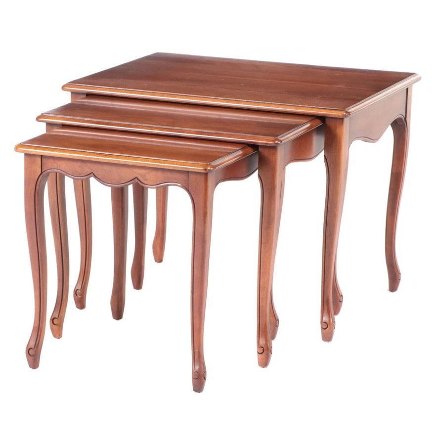 Three Townsend Mfg. Co. French Provincial Style Cherrywood Graduated Side Tables