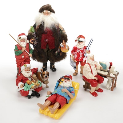 Assorted Santas and Holiday Decor Featuring Clothtique and Crakewood
