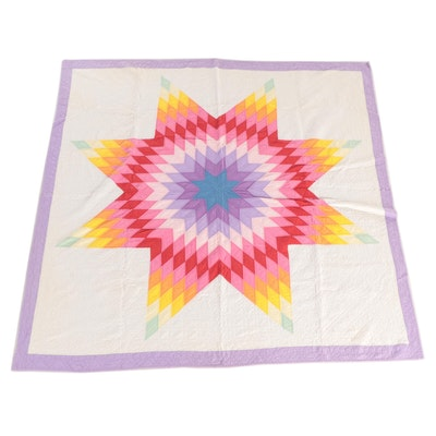 "Handmade ""Lone Star"" Pieced Cotton Quilt, Late 20th Century"