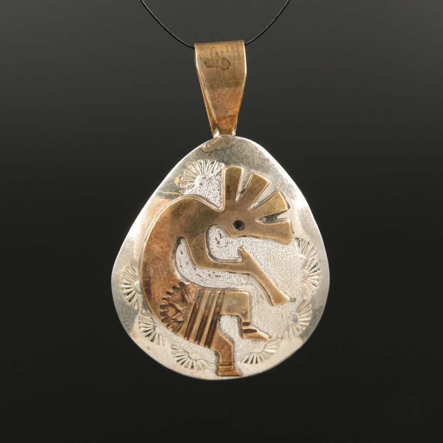 Signed Sterling Kokopelli Pendant with Gold-Filled Accent