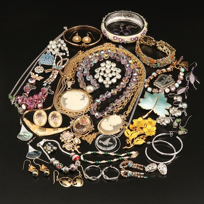 Jewelry Assortment Including Amethyst, Crystal, Rhinestone and Sterling