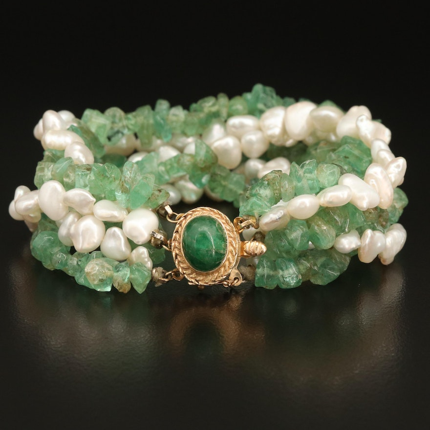 Emerald and Pearl Multi-Strand Bracelet with 14K Clasp