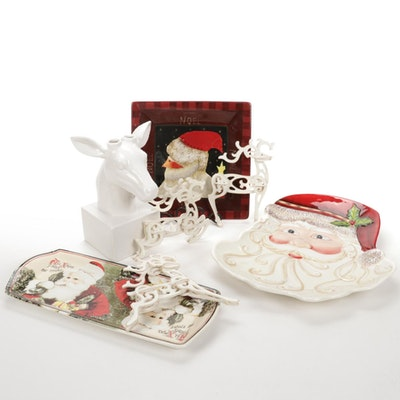 Holiday Plates, Ornaments, and Ceramic Reindeer Candle Holder