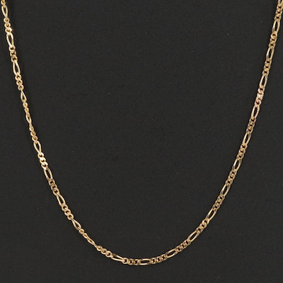 14K Combined Cable and Figaro Chain Necklace