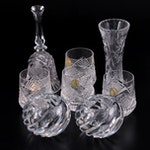 West German Crystal Bell with Tyrone Crystal Lowballs, Votives, and Lenox Vase