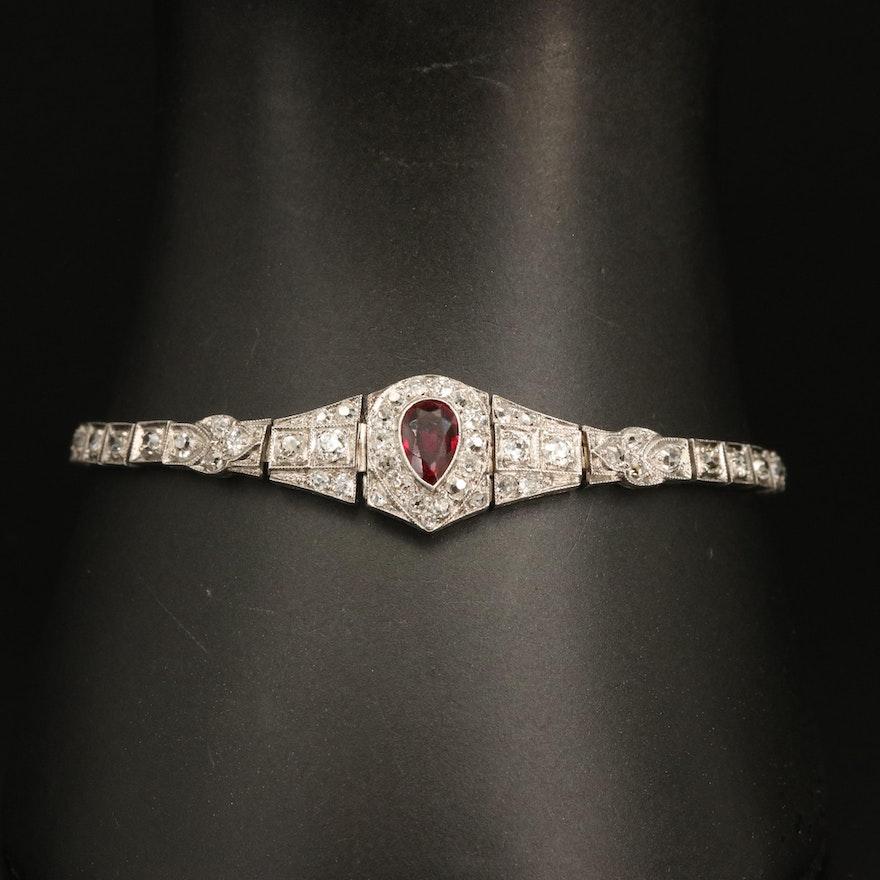Art Deco 18K and Platinum Ruby and 2.63 CTW Diamond Bracelet