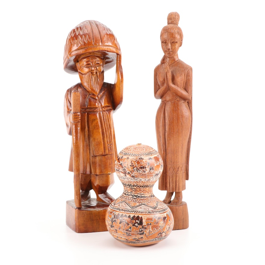 Peruvian Artist Signed Carved Gourd Rattle with Carved Wood Figural Statues