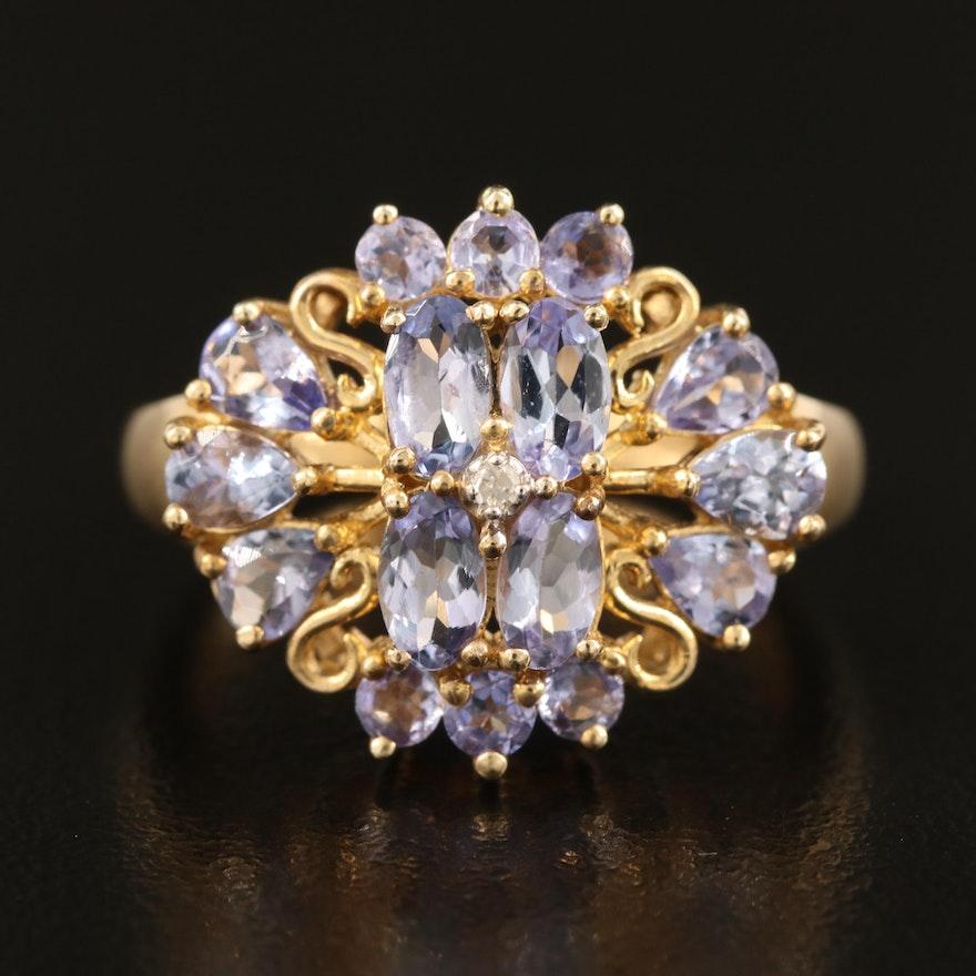 10K Tanzanite and 0.01 CT Diamond Ring