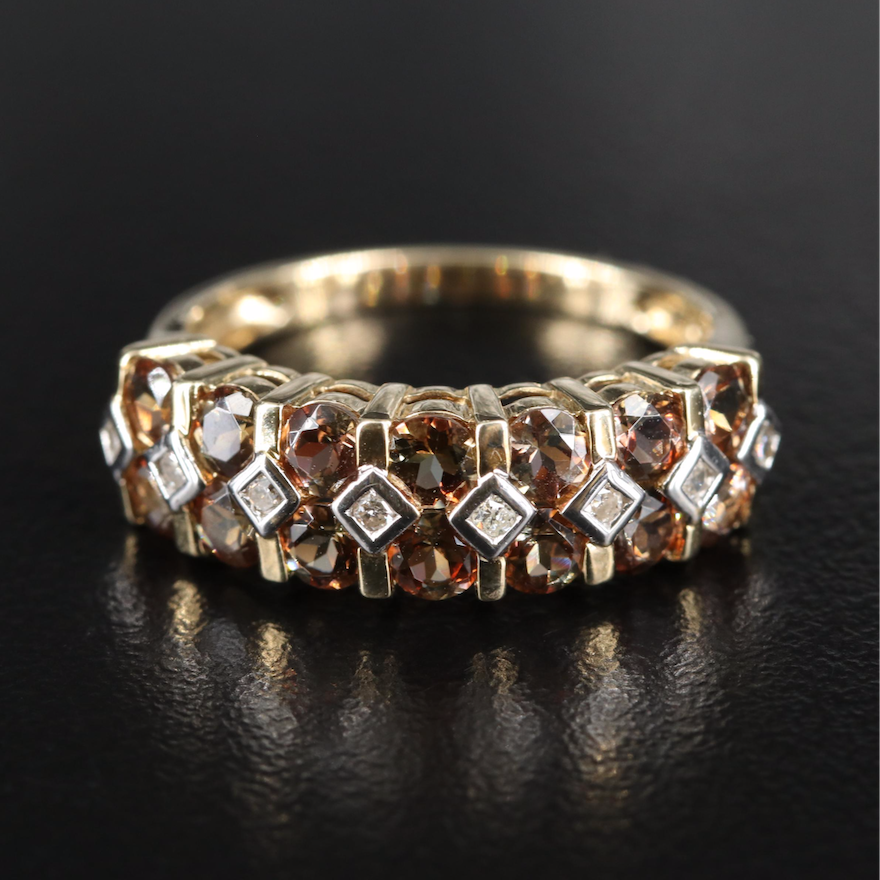 10K Andalusite and 0.09 CTW Diamond Multi-Row Ring