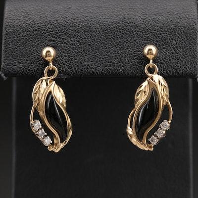 14K Coral and 0.19 CTW Diamond Foliate Earrings