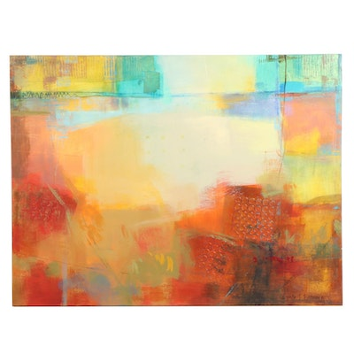 """Ursula J. Brenner Abstract Mixed Media Painting """"On the Beach at Evening"""""""