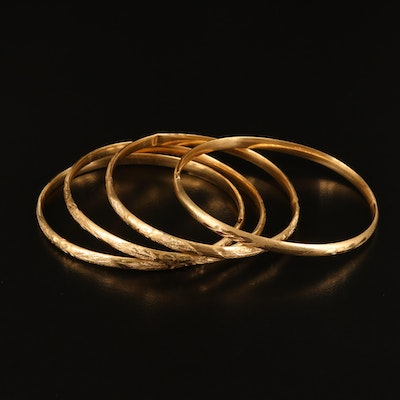 14K Diamond Cut Bangles with Foliate and Floral Details