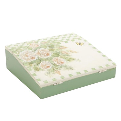 Hand-Painted Floral Wood Storage Box