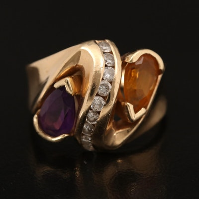 14K Amethyst, Citrine and Diamond Crossover Ring with Ring Box