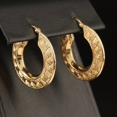 14K Basket Weave Hoop Earrings