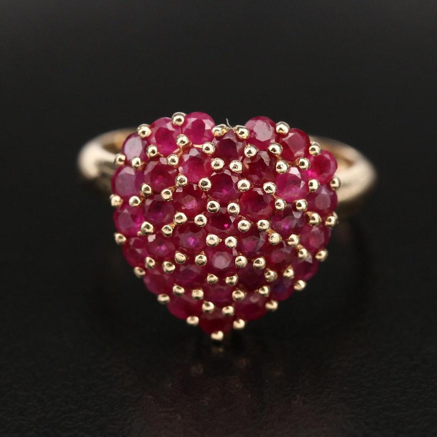 14K Pavé Ruby Heart Ring