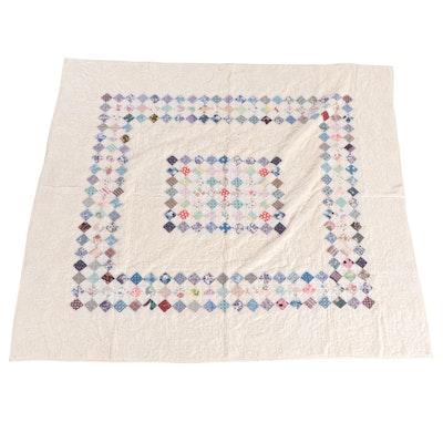 "Handmade ""Postage Stamp"" Pieced Cotton Quilt, Late 20th Century"