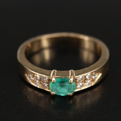14K Emerald and 0.14 CTW Diamond Ring