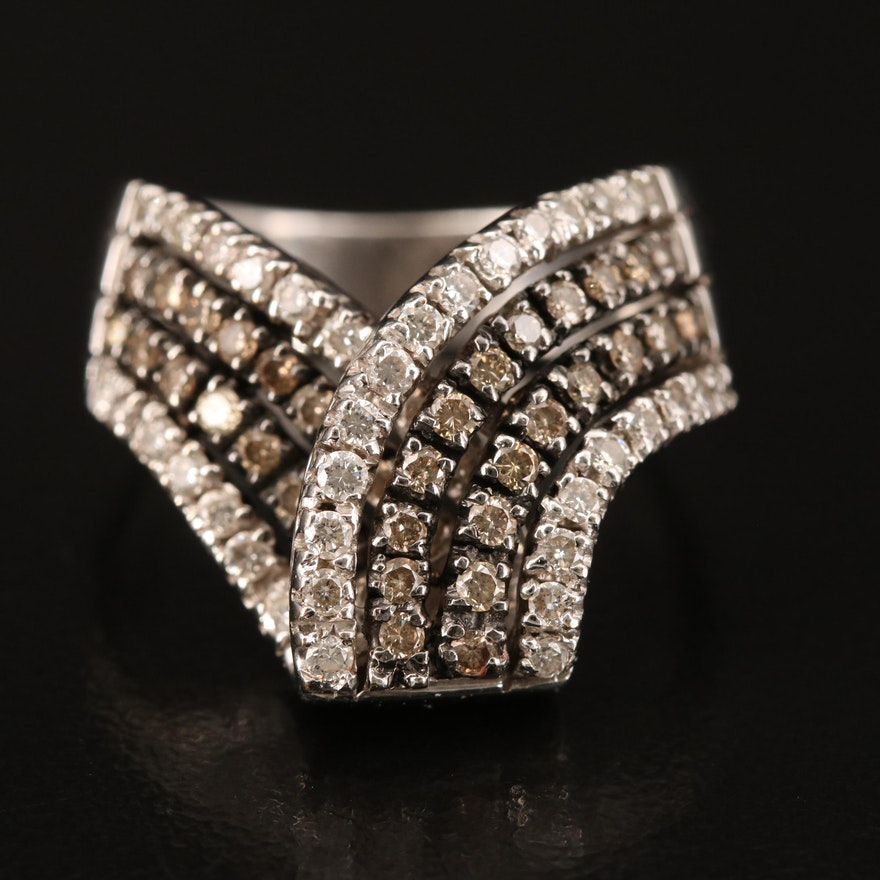 18K 0.93 CTW Diamond Ribboned Band