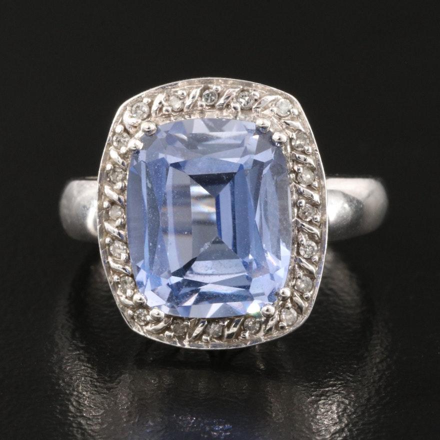 10K Sapphire and Diamond Halo Ring
