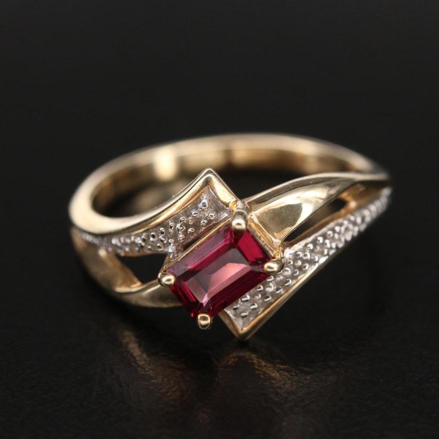 10K Garnet and Diamond Bypass Ring