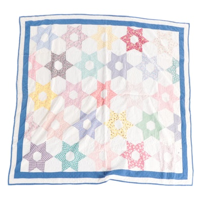 """Handmade """"Hexagonal Star"""" Pieced Cotton Quilt, Mid to Late 20th Century"""