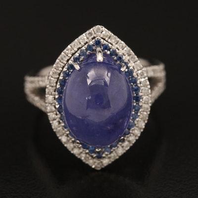 14K Tanzanite, Diamond and Sapphire Ring