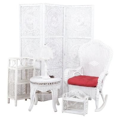 White Wicker Screen, Rocking Chair, Lamp, Table, Stand and Shelf