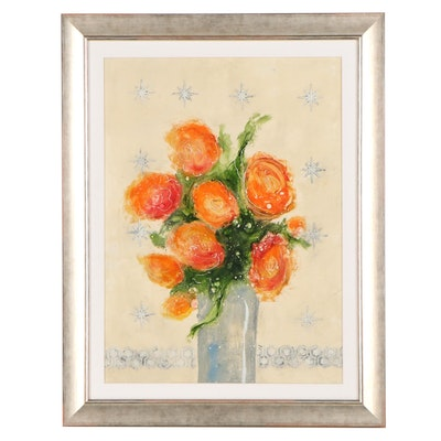 Ursula J. Brenner Mixed Media Painting of a Floral Still Life