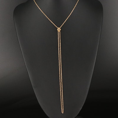 Victorian 14K Seed Pearl Cable Chain Slide Necklace