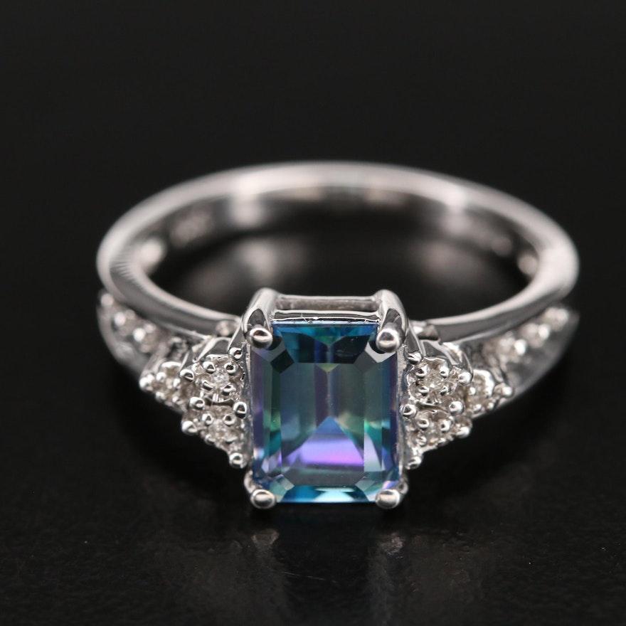 10K Mystic Topaz and 0.03 CTW Diamond Ring
