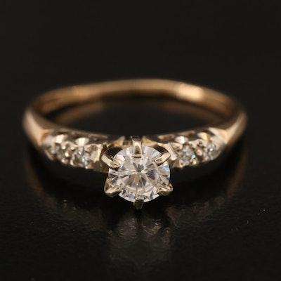 14K Diamond Semi-Mount Ring with Cubic Zirconia Center