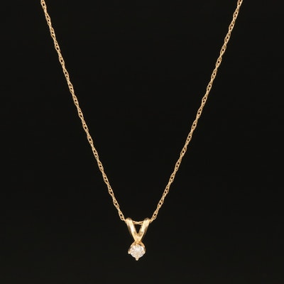 14K 0.11 CT Diamond Solitaire Pendant on 10K Braided Chain Necklace