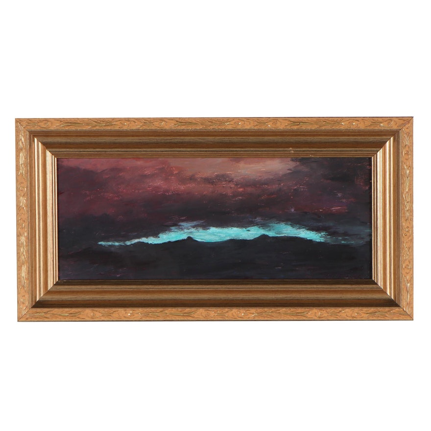 "Robert Riddle-Baker Acrylic Painting ""Close of A Desert Night"""