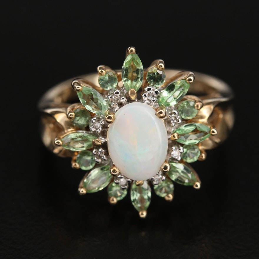10K Opal, Garnet and 0.02 CTW Diamond Ring
