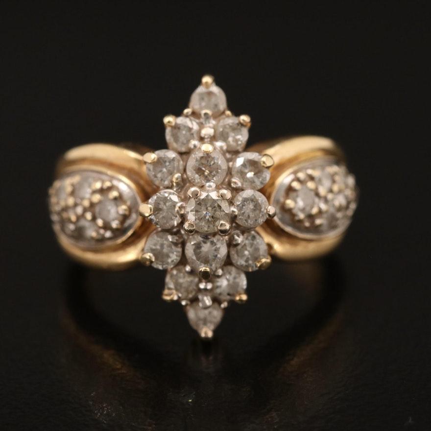 14K 0.93 CTW Diamond Cluster Ring