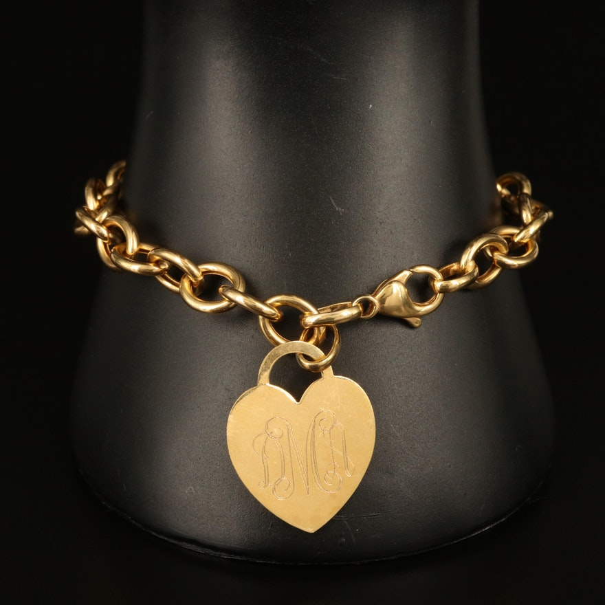 Italian 14K Heart Bracelet