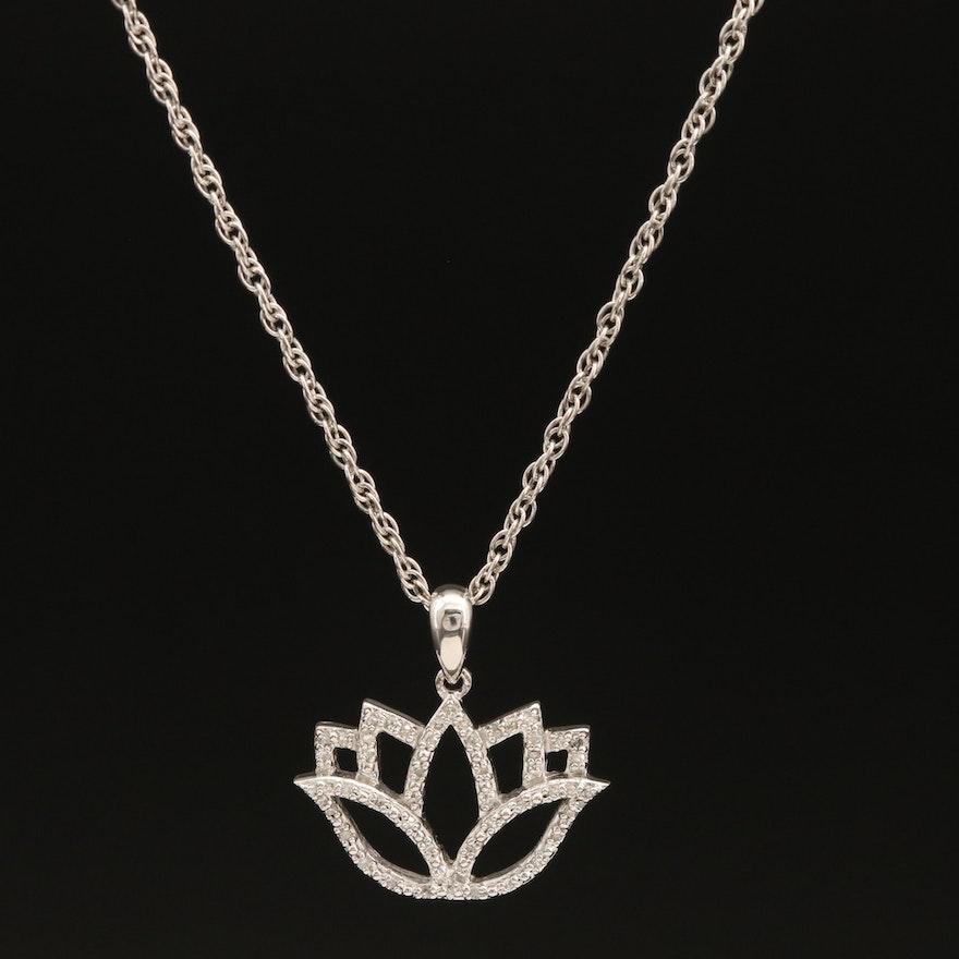 Sterling Diamond Lotus Flower Pendant Necklace
