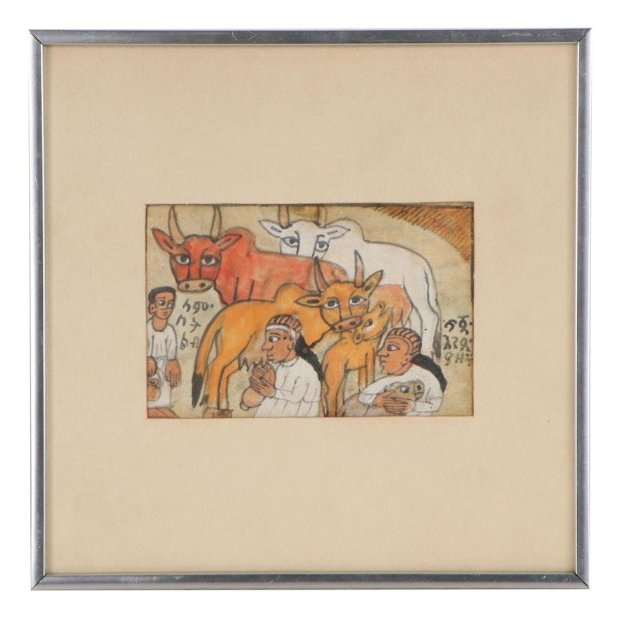 Ethiopian Gouache Painting of Figures and Animals