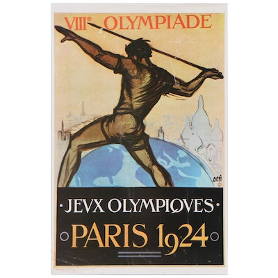 Reproduction French 1924 Olympic Games Poster, Late 20th Century