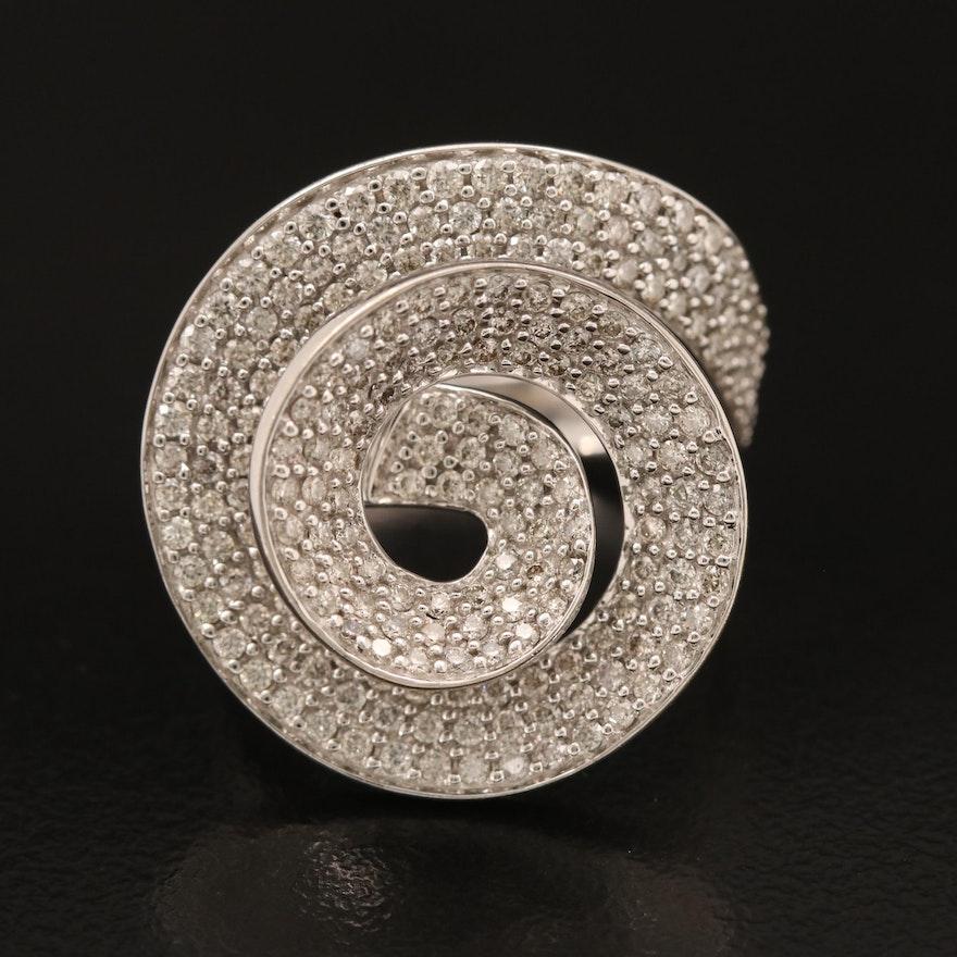 14K 1.50 CTW Pavé Diamond Spiral Ring