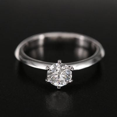 18K and 10K 0.72 CT Diamond Solitaire Ring with Knife-Edge Shoulders