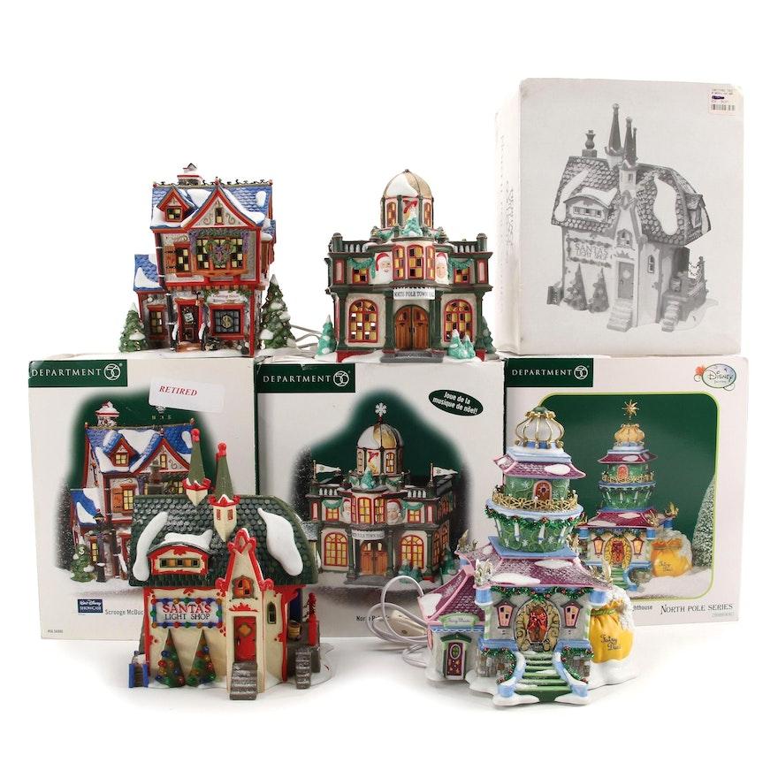 """Department 56 """"North Pole Series"""" Porcelain Village Buildings"""