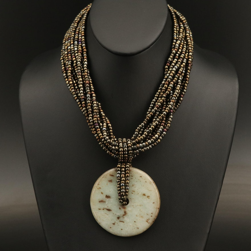 Serpentine Bi Pendant on Multi-Strand Beaded Necklace