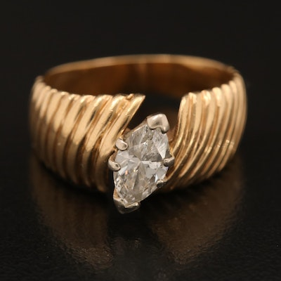 14K 0.71 CT Marquise Cut Diamond Fluted Ring