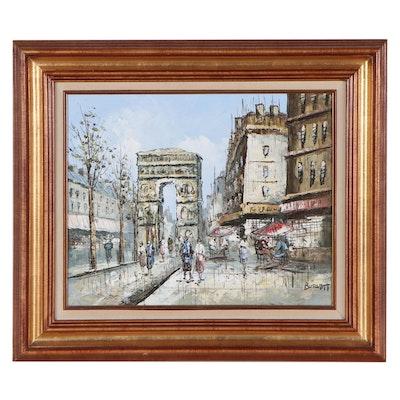 Caroline Burnett Parisian Street Scene Oil Painting
